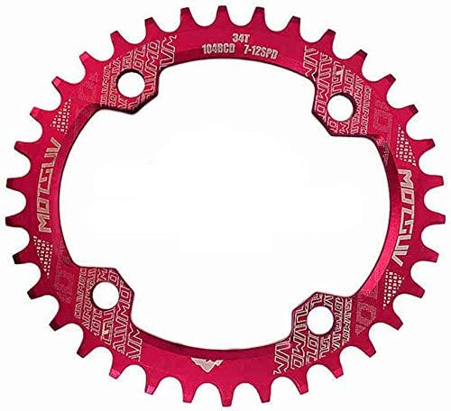 ZHTT Apto para Nuevo 104Bcd Ovalado Estrecho Plato Ancho MTB Bicicleta de montaña 32T 34T 36T 38T Platos y bielas Piezas de Placa de un Solo Diente 104 Bcd Plato de Bicicleta