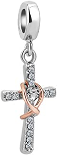 Cross Charms Rose Gold Infinity Crystal Charms I Can Do All Things Bead Charms