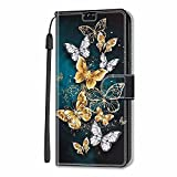 Miagon Wallet Case for Xiaomi Redmi 9A,Creative Pattern Flip Leather Case Cover with Credit Card Slot ID Card Holder Kickstand,Gold Butterfly