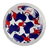 Paquete de 4 pomos de cajón para niños hechos a mano Australia mapa canguro rojo El gabinete de la manija del tocador lindo tira las perillas con diseño 3.5x2.8cm