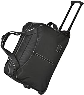 TONGSH Suitcases with Wheels Travel Trolley Bag Tote Carry-On Luggage Rolling Gym Bag Multi-Function Expandable Hand Waterproof Flight Bag (Color : Black)