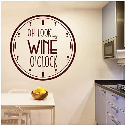 It'S Wine O'Clock Vinilo Etiqueta De La Pared Decoración De Sujetador De Cocina Patrón De Vino Calcomanía De Pared Extraíble Diseño De Reloj Decoración Interior Del Hogar Arte 42X42Cm