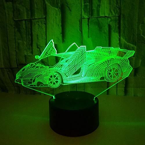 Creativo deportes 3d coche deportivo lámpara de mesa color visual toque LED luz nocturna decoración regalo