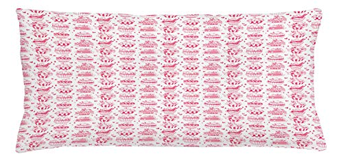 ABAKUHAUS Dessert Throw Pillow Cushion Cover, Hand Drawn Illustration of Cupcake Variety with Piece of Cakes on Plate, Decorative Square Accent Pillow Case, 36 X 16 Inches, Hot Pink and White