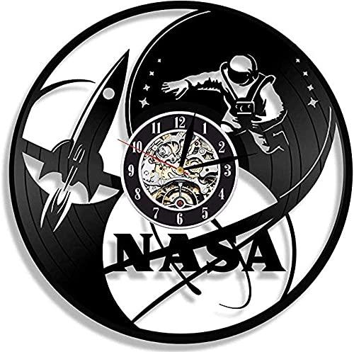 KDBWYC Reloj de Pared de Vinilo de la Diseño de Espacio Exclusivo Regalo de Ciencia Profesor Científico Hombre o Mujer Decoración para la Oficina de Clase Aero Shuttle