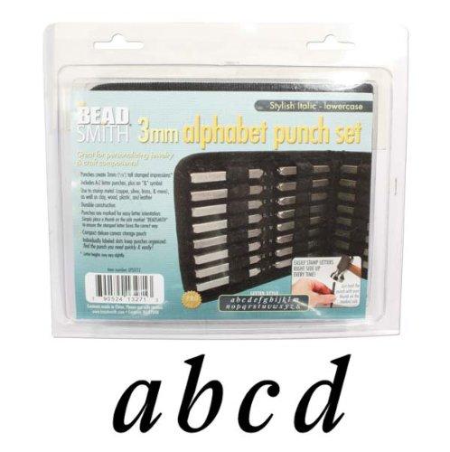 27 pezzi, lettere dell'alfabeto in corsivo, maiuscole, minuscole elegante Set di punzoni con lettere A-Z, per metallo, 3 mm