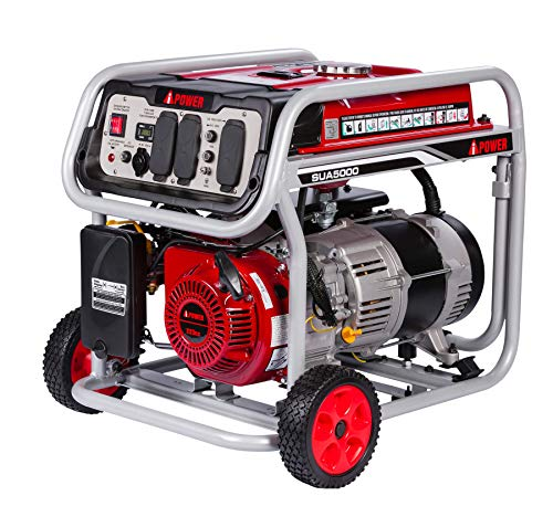 A-iPower SUA5000 5000 Watt Portable Generator Small Gas Powered For Jobsite, RV, and Home Backup...