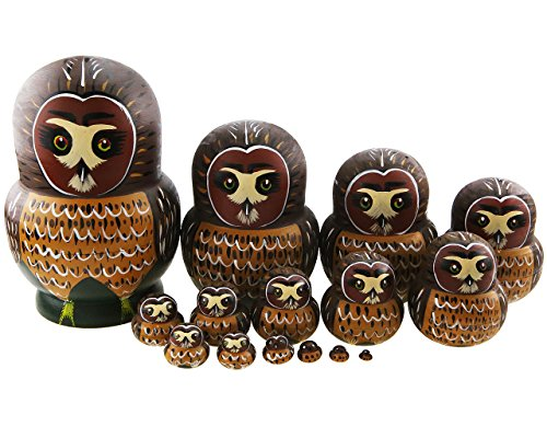 Apol Set of 15 Cartoon Cute Big Belly Shape Brown Owl Handmade Wooden Nesting Dolls Matryoshka Russian Doll For Birthday Christmas Gift Home Decoration Kids Toys