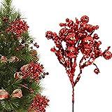 BOICXM 6 tallos navideños con purpurina de bayas, 10.6 pulgadas,...
