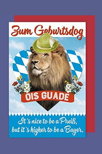 Bayern Geburtstag Grußkarte Karte Humor Löwe OIS GUADE C6