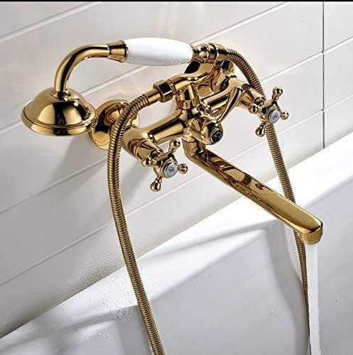 G0000D - Grifo de ducha de latón pulido dorado grifo de baño ducha mano lluvia ducha grifo de lujo cerámica teléfono pared baño ducha grifo de ducha