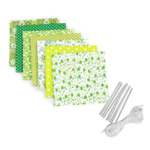 NINGNETI DIY Material Set Hecho a sí mismo Cubierta de visera de tela Reutilizable y Lavable Pañuelos Verde - Pack 7 unidades NKZ-0425B053
