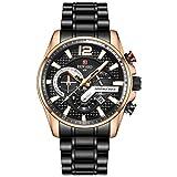 Wyenliz Reloj de hombre original Multifuncional Lujo de moda de personalidad negocio de ocio a Estudiante Correa de acero inoxidable prueba de agua reloj de regalo de cuarzo analógico Negro