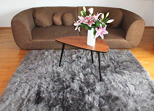 Naturasan Design Öko Schaffell-Teppich 150 x 200, Hochflor Langflor, Shaggy, Flokati, Lounge Fellteppich Lammfellteppich (Dunkelgrau)
