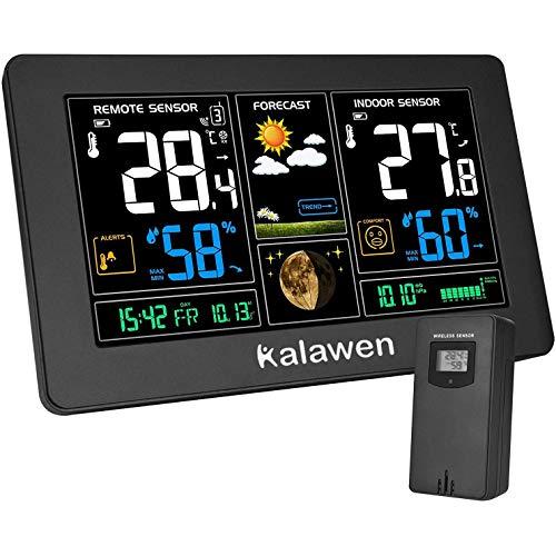 Kalawen Stazione Meteo Automatica Digitale Wireless Meteorologica con Ampio Schermo LCD Display Sveglia Tempo Data Temperatura umidità Previsioni di T