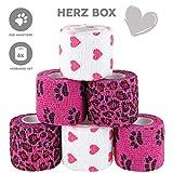 Paws & Patch 6er-Set selbsthaftende Verbände für Haustiere, 5cm x 4,5m, kohäsive Bandagen für Hunde, Katzen, Pferde, versch. Muster und Motive, Tierverband, Fixierbinden, Pet Vet Wrap, Tapes