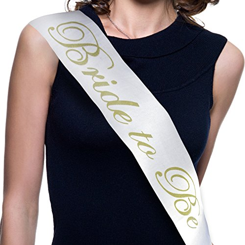 Bachelorette Party Bride to Be Sash - Bridal Shower Accessories (White Satin Gold Lettering) Favors Decorations