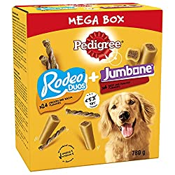 Pedigree Mega Box comes with two types of treats in one: Rodeo Duos and Jumbone, so your dog can enjoy all their favourite snacks when training or rewarding Pedigree Jumbone dog treats combine a chewy outer with a flavour filled centre, while Rodeo D...