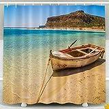 N\A Duschvorhang, Weihnachtsfischerboot zur Küste Der schöne Strand Griechenland Kreta Wasserdicht dekorative Badezimmer Stoff Duschvorhänge, Gelbgrün