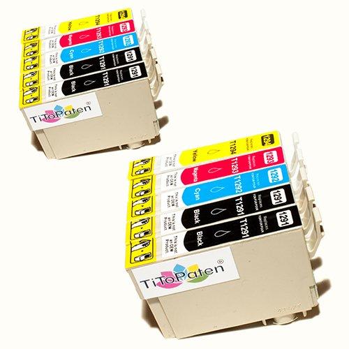 *TITOPATEN* 10x Epson Workforce WF 3520 DWF kompatible XL Druckerpatrone ersetzt Typ T1291-1294 - 4xSchwarz-2xCyan-2xMagenta-2xGelb - Patrone MIT CHIP !!!