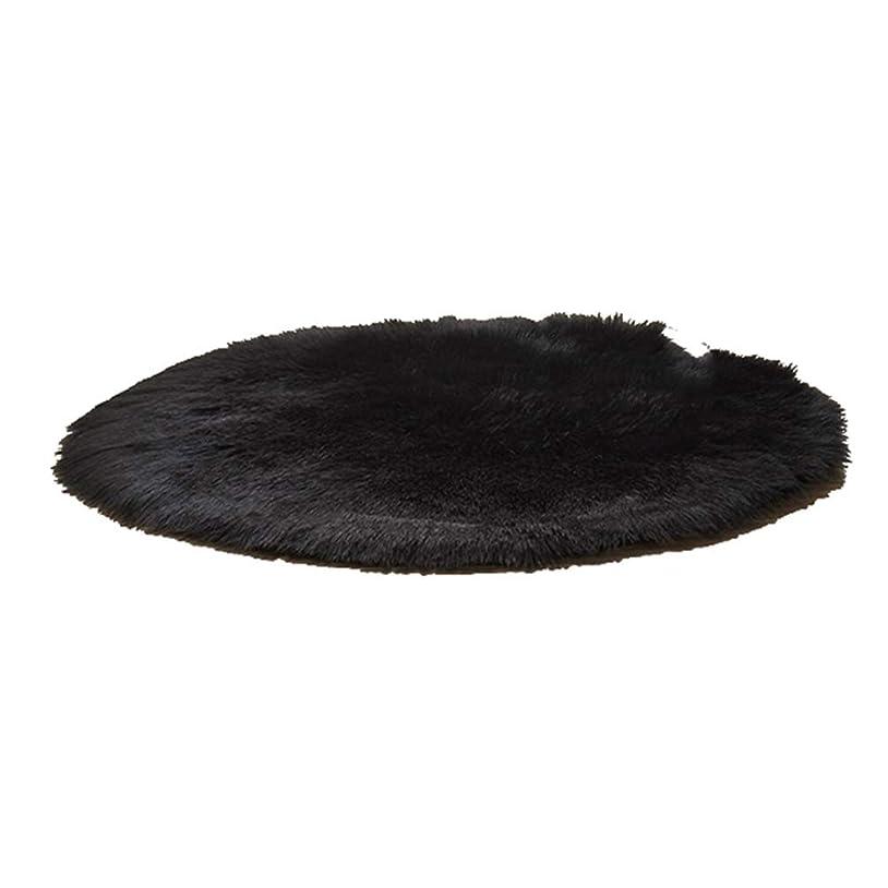 反応する漂流相互カーペット 円形マット 直径120cm チェアマット シャギー 柔らかい 滑り止め 洗える 絨毯 厚め 床暖房対応 抗菌防臭 マイクロファイバー 折り畳み可能 ふわふわ さらさら ブラック 60 リビング ベッドルーム