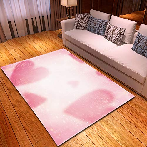 Alfombra,Soft Velvet Area Rugs Large Anti-Skid Runners Floor Mat Indoor Outdoor Carpet Pink Heart Pattern For Valentine's Day Bedroom Home Decor,152 * 124Cm