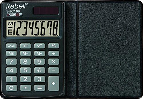 Rebell RE-SHC108 Taschenrechner, 8-stelligem LCD Display, Solarzelle, Wurzel- und dreifacher Speicherfunktion, Schutzhülle, schwarz