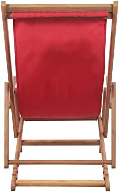 Tidyard Folding Beach Chair Fabric and Wooden Frame Red