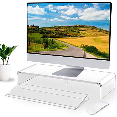 Acrylic Monitor Stand & Keyboard Stand,Computer Monitor Stand Riser for Home Office Business Desk Stand for Keyboard Storage, Multi-Media iMac Printer