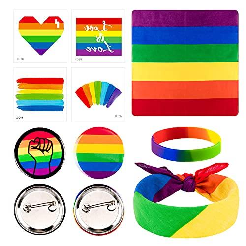 Chyang 28 STÜCKE Gay Pride Day Accessoires 16 Temporäre Tattoo Aufkleber 4 Rainbow Pins 4 Square LGBT Bandana Stirnband 4 Silikonarmbänder für Gay Pride Parade Feiern und tägliche Kleidung