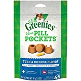 FELINE GREENIES PILL POCKETS for Cats Natural Soft Cat Treats, Tuna & Cheese Flavor, 1.6 o...