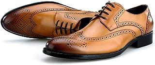 Heren Smart Derby Schoenen Leer Faux Lace Up Schoenen Office Formele Jurk Casual Oxfords Schoenen 5-10UK (38-45), Bruin-8....