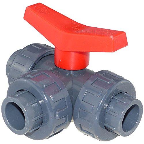 PVC kogelkraan 3-weg L-boring (voor aquaristiek, vijver en zwembad) 25 mm pvc.