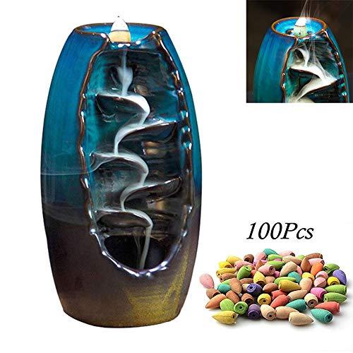 DZANS Rückfluss Räuchergefäß Halter Keramik Wasserfall Rauch Räucherstäbchenhalter, für Wohnzimmer Dekorationen Aromatherapie Diffusoren Ornament Wohnkultur