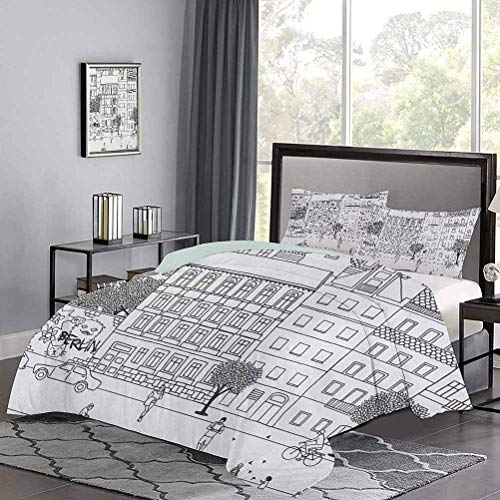 UNOSEKS LANZON Duvet Cover Set Monochrome Sketch of Berlin Square Hand Drawn Urban Scene with People Image Soft Bedding Cover Great for Snuggle with at Night Black and White, Twin Size