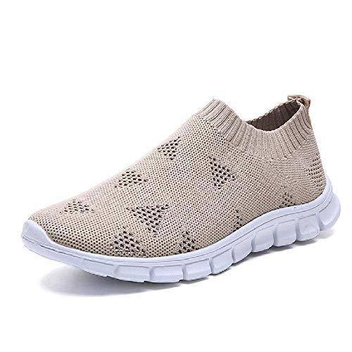 Más el Tamaño Transpirable de Malla de Aire Zapatillas de deporte de las Mujeres de Primavera Verano Deslizamiento en Plataforma de Punto Pisos Suave Zapatos, color, talla 41 EU