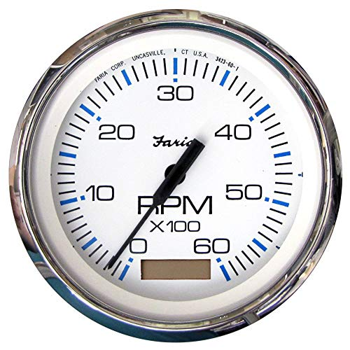 Faria 33832 Chesapeake Stainless Steel Tachometer with Hourmeter (6000 RPM) Gas - 4', White