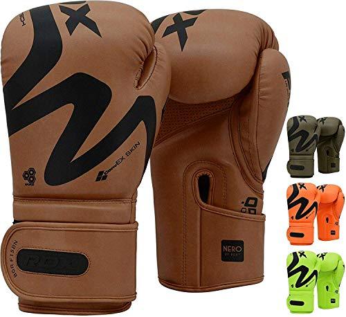 RDX Guantes de Boxeo para Muay Thai y Entrenamiento | Convex Skin Combat Cuero Mitones para Sparring, Kick Boxing | Boxing Gloves para Saco Boxeo, Combate Training