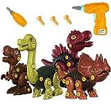 UTTORA Dinosaurier Spielzeug,4 Stück Dinosaurier Spielzeug mit Werkzeugen DIY Gebäude Spielzeug für Kinder zerlegen Tiere Spielzeug,Lerngeschenke für 3 4 5 6 7 8 9 10 11 Jahre alte Jungen und Mädchen
