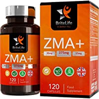 ZMA+ (Suplemento de Zinc, Magnesio y Vitamina B6) - 375 mg por porción de Britelife| PARA SOPORTE INMUNO, HORMONAL Y ATLÉTICO | TESTOSTERONA SUPLEMENTO NATURAL | 120 capsulas de gel