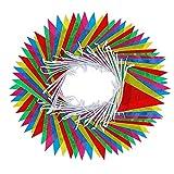 REFURBISHHOUSE 125 Fü?e Multi Farbe Nylon Wimpel Banner Mit 100 E Flaggen FüR Indoor Au?en Party Haus Garten Dekoration 38 Meter 28x18 cm