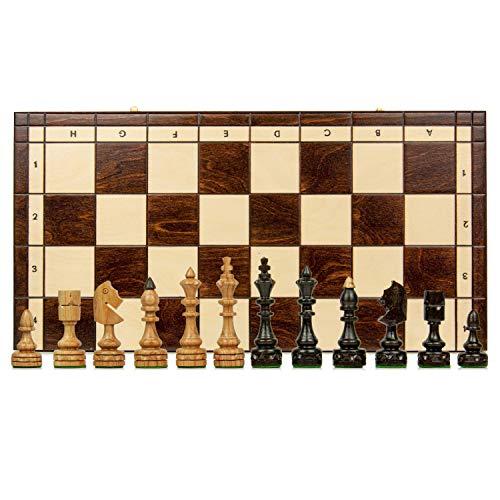 Amazinggirl Schachspiel groß Schach Schachbrett 46 cm - indisches Chess Schachfiguren Set hochwertig Holz klappbar Board