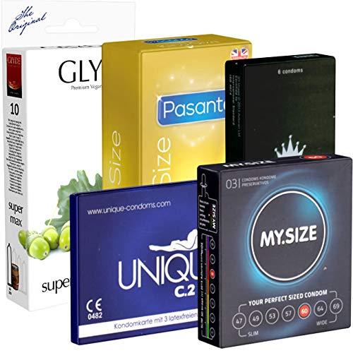 Der Kondomotheke® B5 XXL Mix B - 5x Kondome mit 60mm Breite - extra breite Kondome für den großen Penis - XXL Kondome für mehr Platz, 34 Kondome