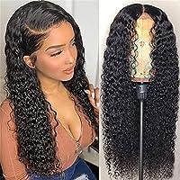 レースフロントウィッグ人間の髪の毛巻き毛、透明なレース13x4レースフロントウィッグ人間の髪の毛茶色ブラジルの水波事前に選択された水の波150%密度の人間の髪の毛,20 inch