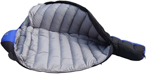 LXD Sac de couchage momie en plein air pour adultes, hiver, sacs de couchage pour le camping, sacs de couchage très grands enveloppants et chauds avec sac de compression pour la randonnée, Bleu
