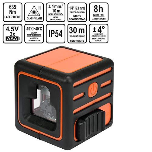 STHOR professionele kruislijnlaser | zelfnivellerend | met 3 lijnen | incl. Standaard, bereik tot 30 meter, 360 graden, laserbouwlaser
