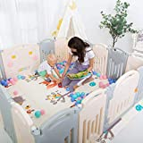Uanlauo Foldable Baby Playpen Safety Play Yard for Toddler, Kids Activity Centre Indoor or...