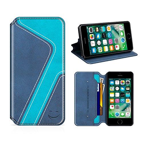 MOBESV Smiley iPhone SE Hülle Leder, iPhone 5S Tasche Lederhülle/Wallet Hülle/Ledertasche Handyhülle/Schutzhülle mit Kartenfach für iPhone SE / 5S / 5, Dunkel Blau/Aqua