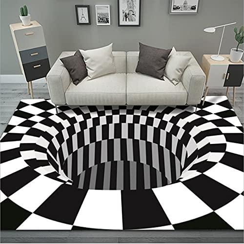 FFFZW Alfombras rectangulares, Alfombra de ilusión óptica 3D, Antideslizante, no Tejida, cómoda Alfombra de Pelo Largo Vision, Negro, Blanco, a Cuadros, Alfombra para Piso