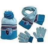 Gorro de invierno con pompón y guantes Frozen II Disney Anna Olaf talla única - FRO-2005 celeste